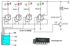 Simple Electrical Circuit for Water Level Indicator