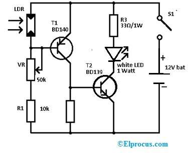 Emergency Light Circuit using 12v Battery