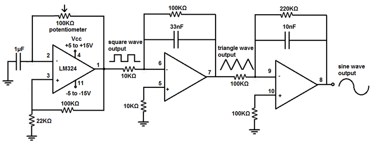 Function Generator Circuit Diagram with LM324 Op-Amp