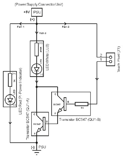 Amplification of the Current via Darlington Transistor