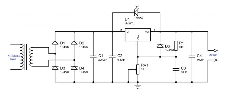Circuit Diagram Variable Power Supply - Data Wiring Diagram