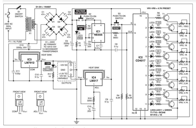 circuit diagram of power supply electronic project ideas